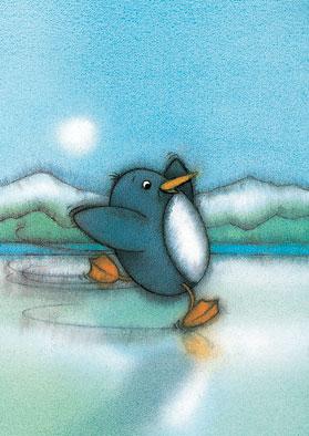 Poster, Pinguïn Pit schaatst
