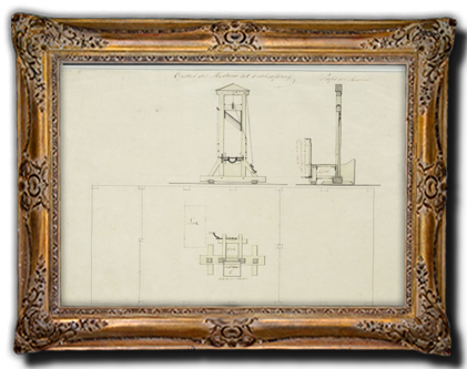 Bouwtekening van guillotine