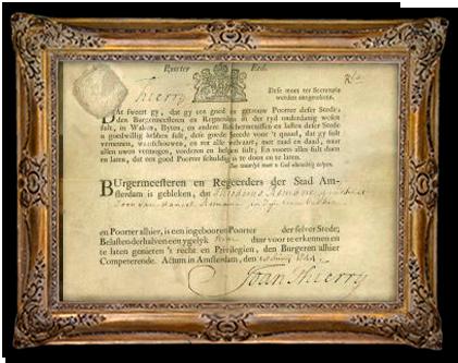 Een Poortersbrief uit 1744
