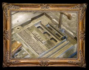 Een hele pagina gezet in een metalen raamwerk