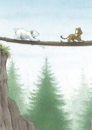 Prentbriefkaarten, Kleine IJsbeer neemt gevaarlijke weg