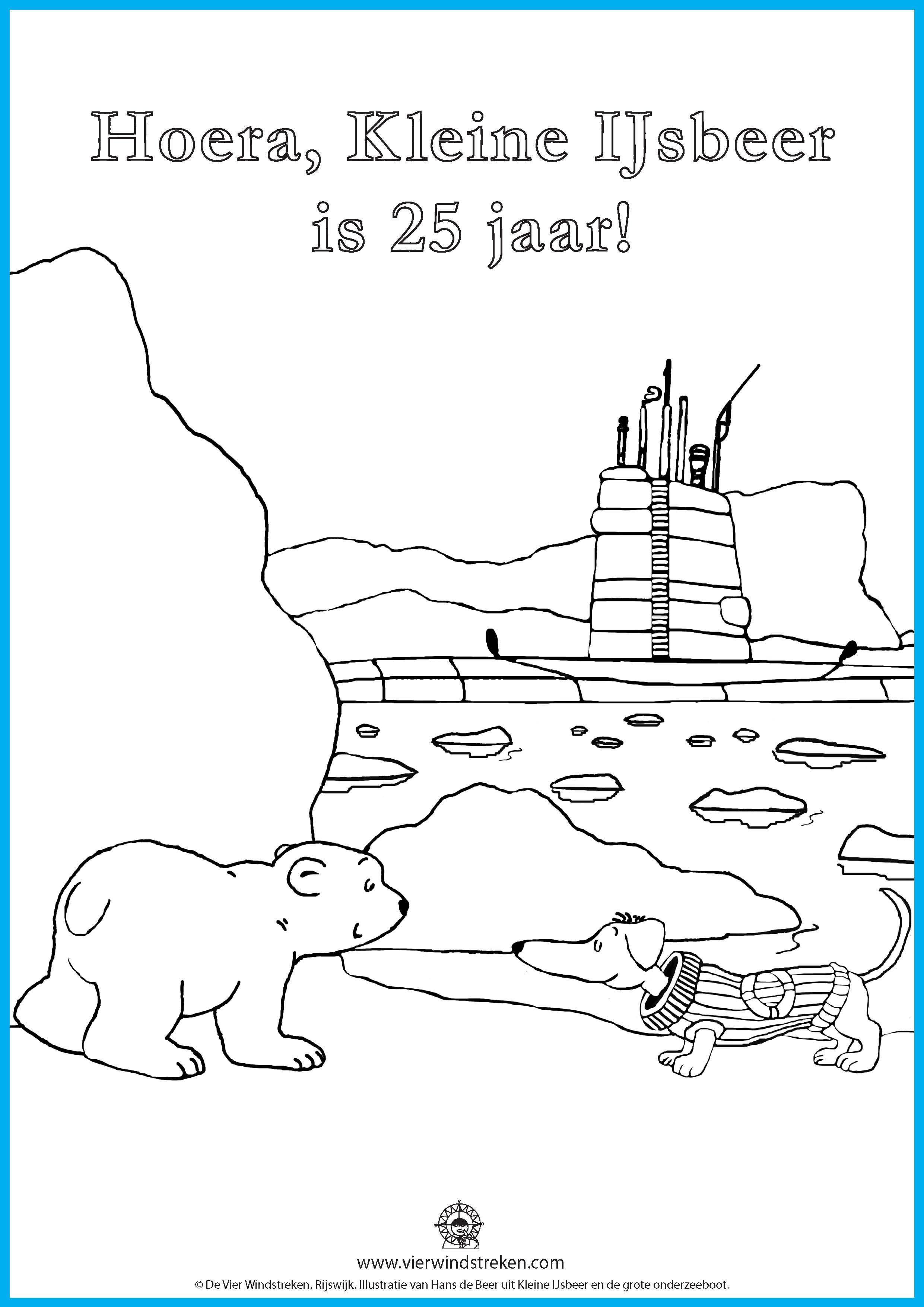 Kleurplaat Kleine IJsbeer en de grote onderzeeboot