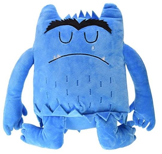 Pluche kleurenmonster blauw (verdrietig)