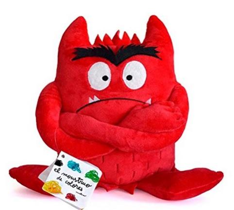 Pluche kleurenmonster rood (boos)