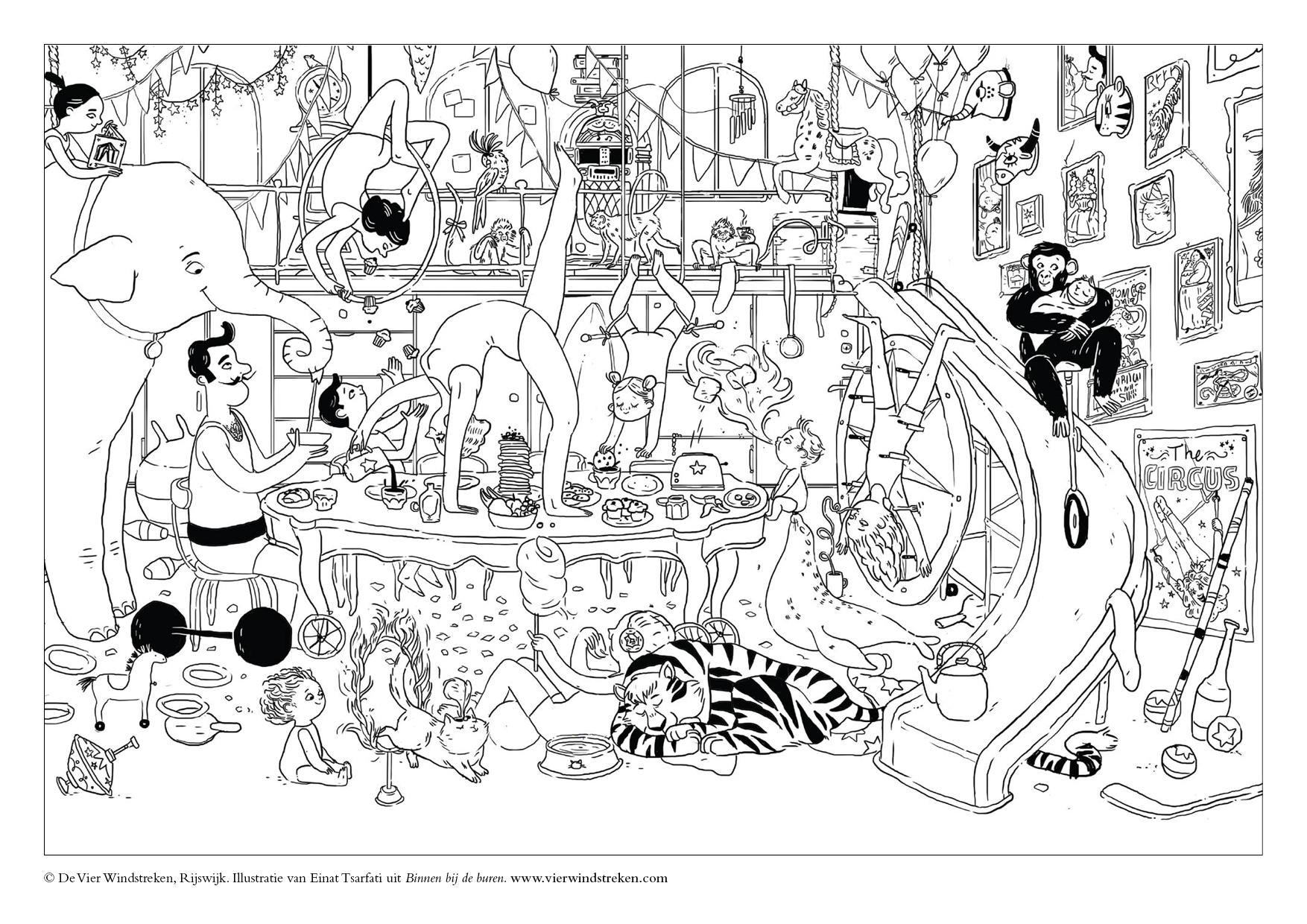 Kleurplaat Binnen bij de buren - Circus