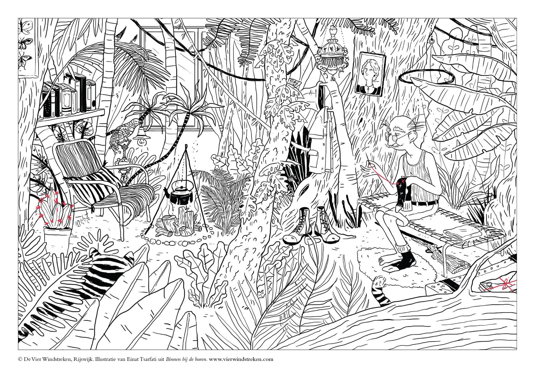 Kleurplaat Binnen bij de buren - Jungle
