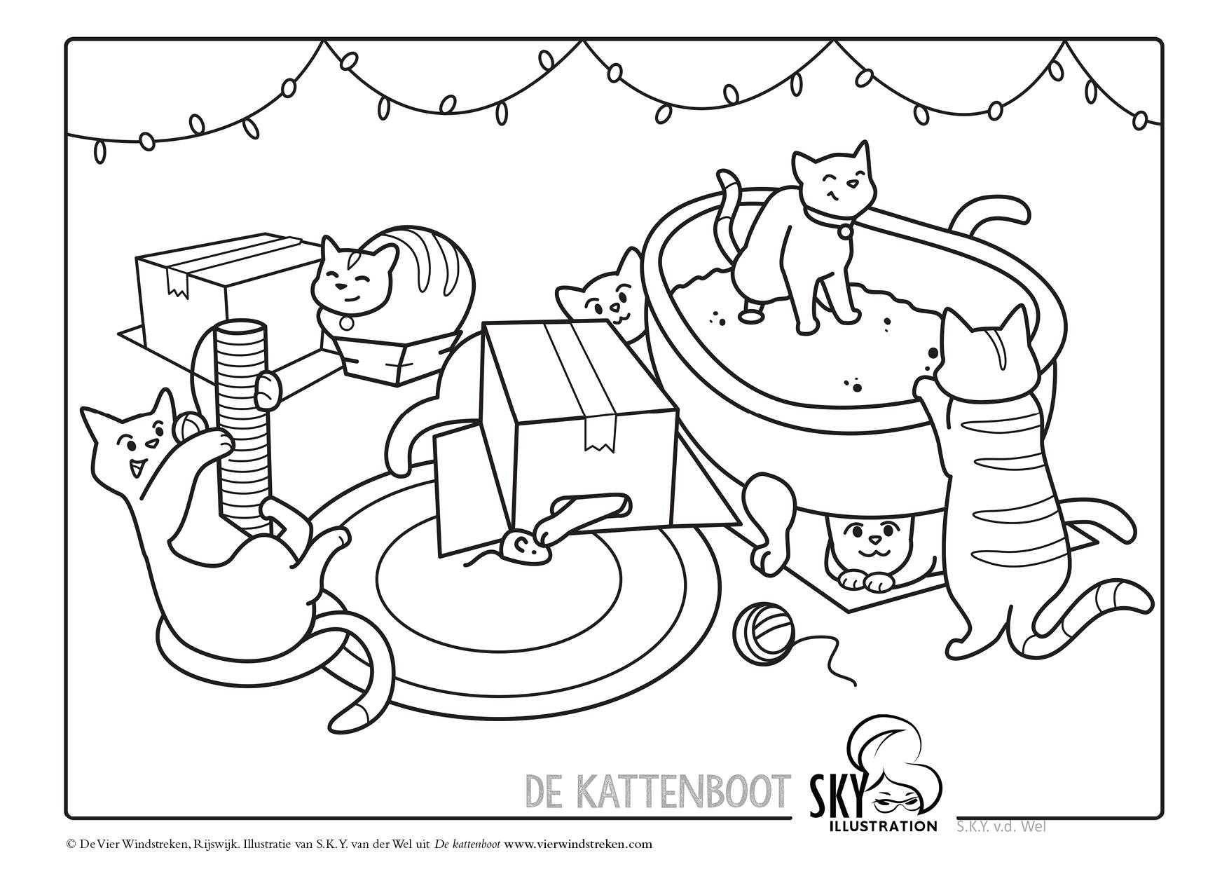 Kleurplaat De kattenboot