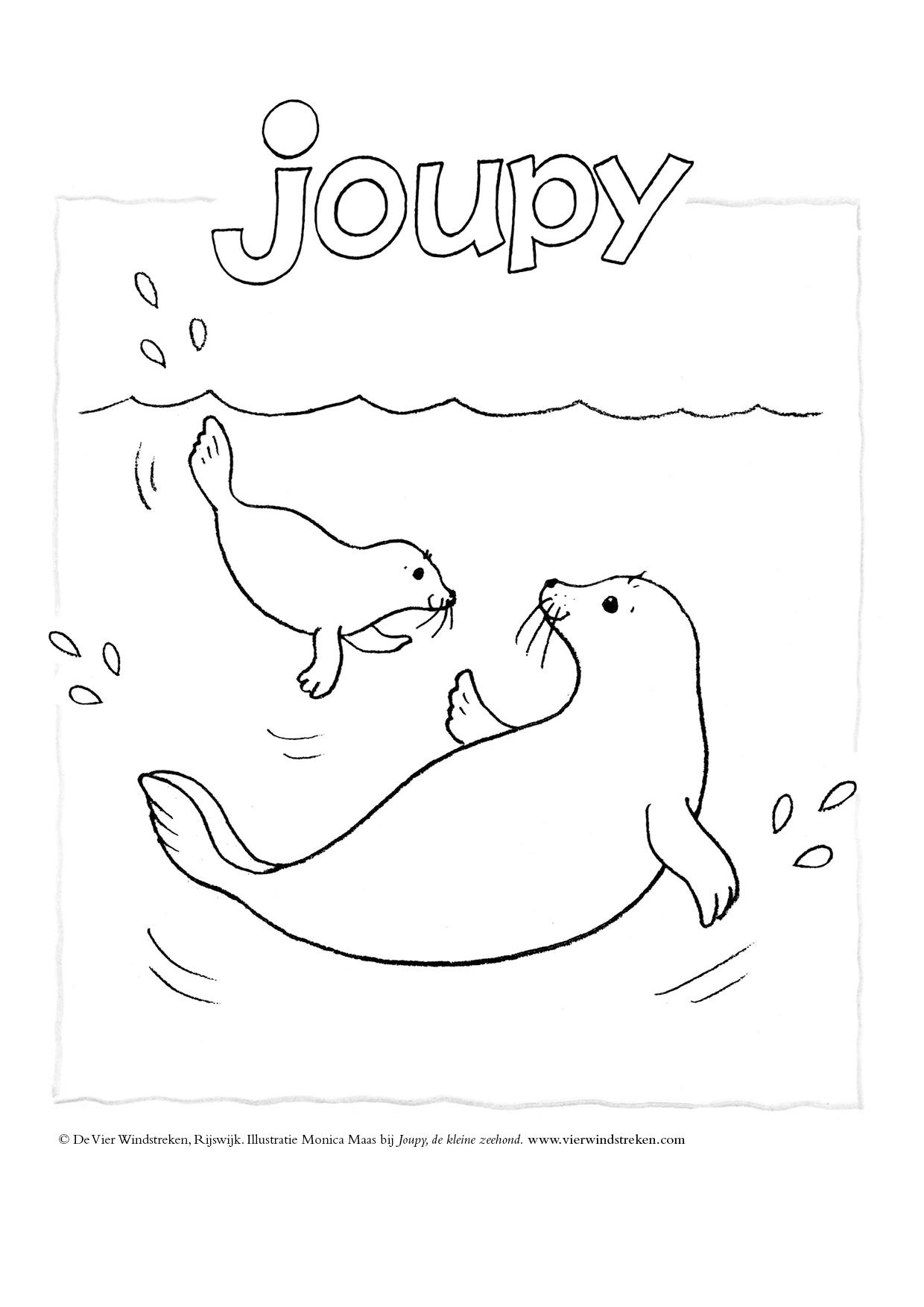 Kleurplaat Joupy met mama