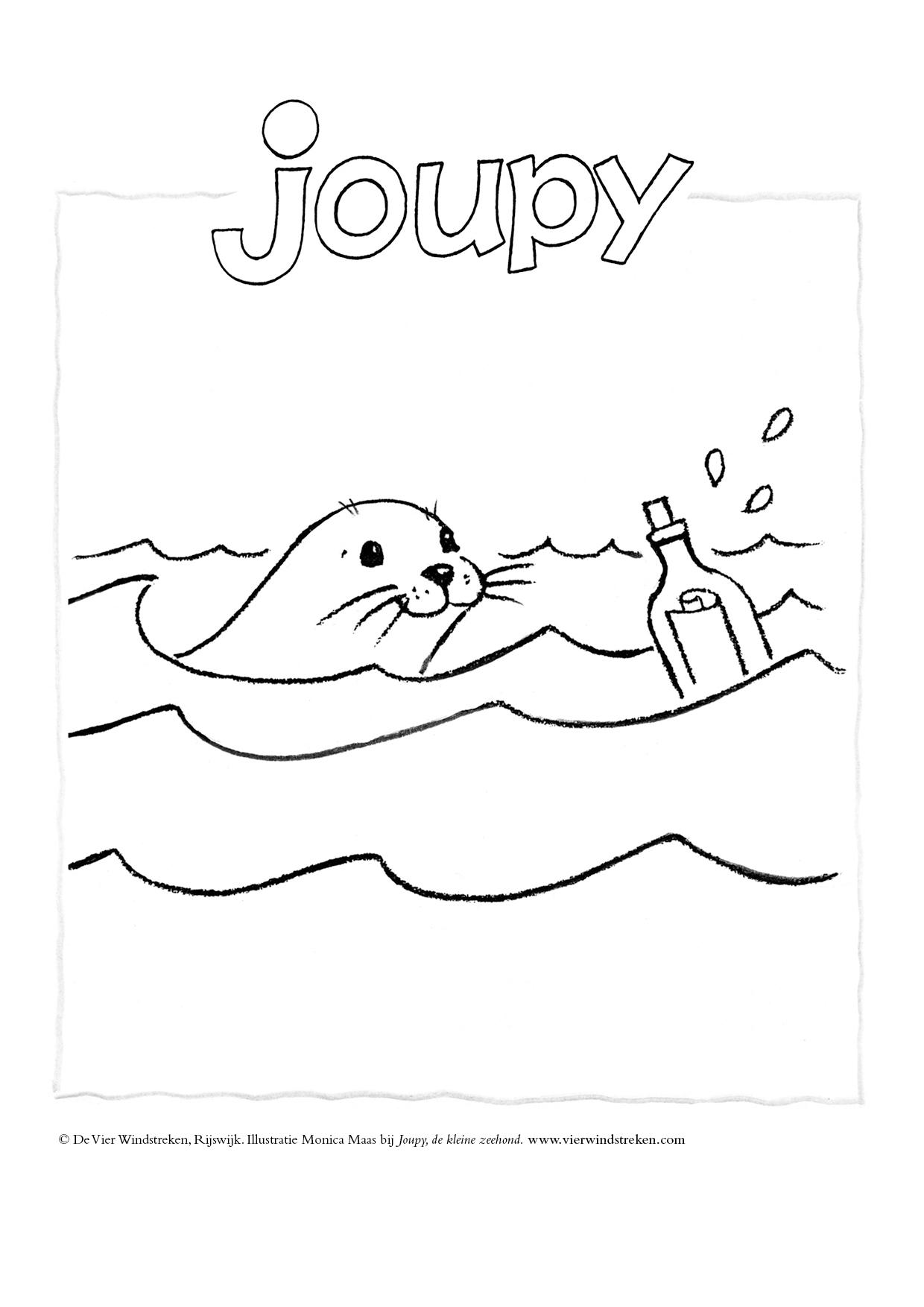Kleurplaat Joupy en flessenpost