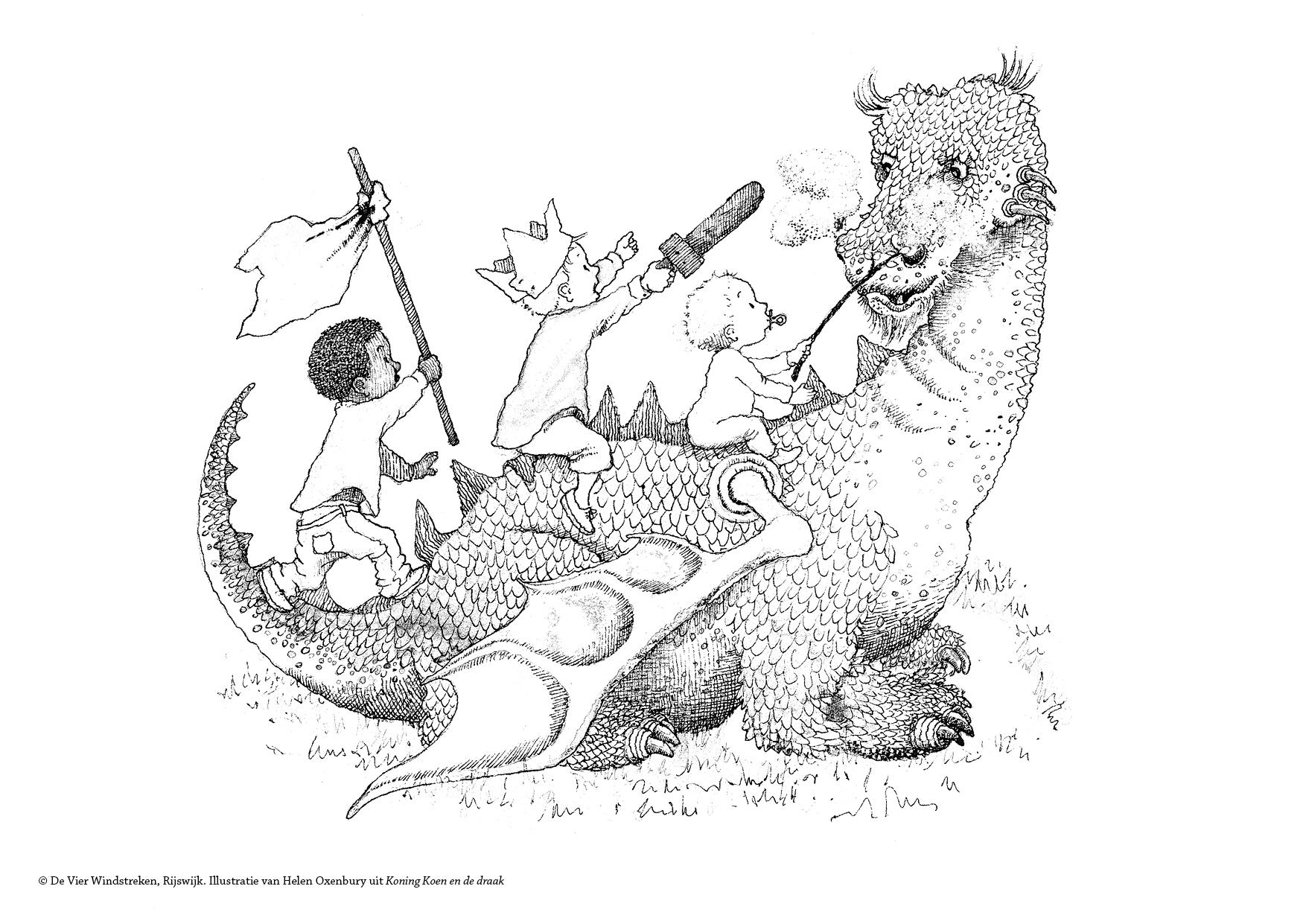Kleurplaat Koning Koen en de draak