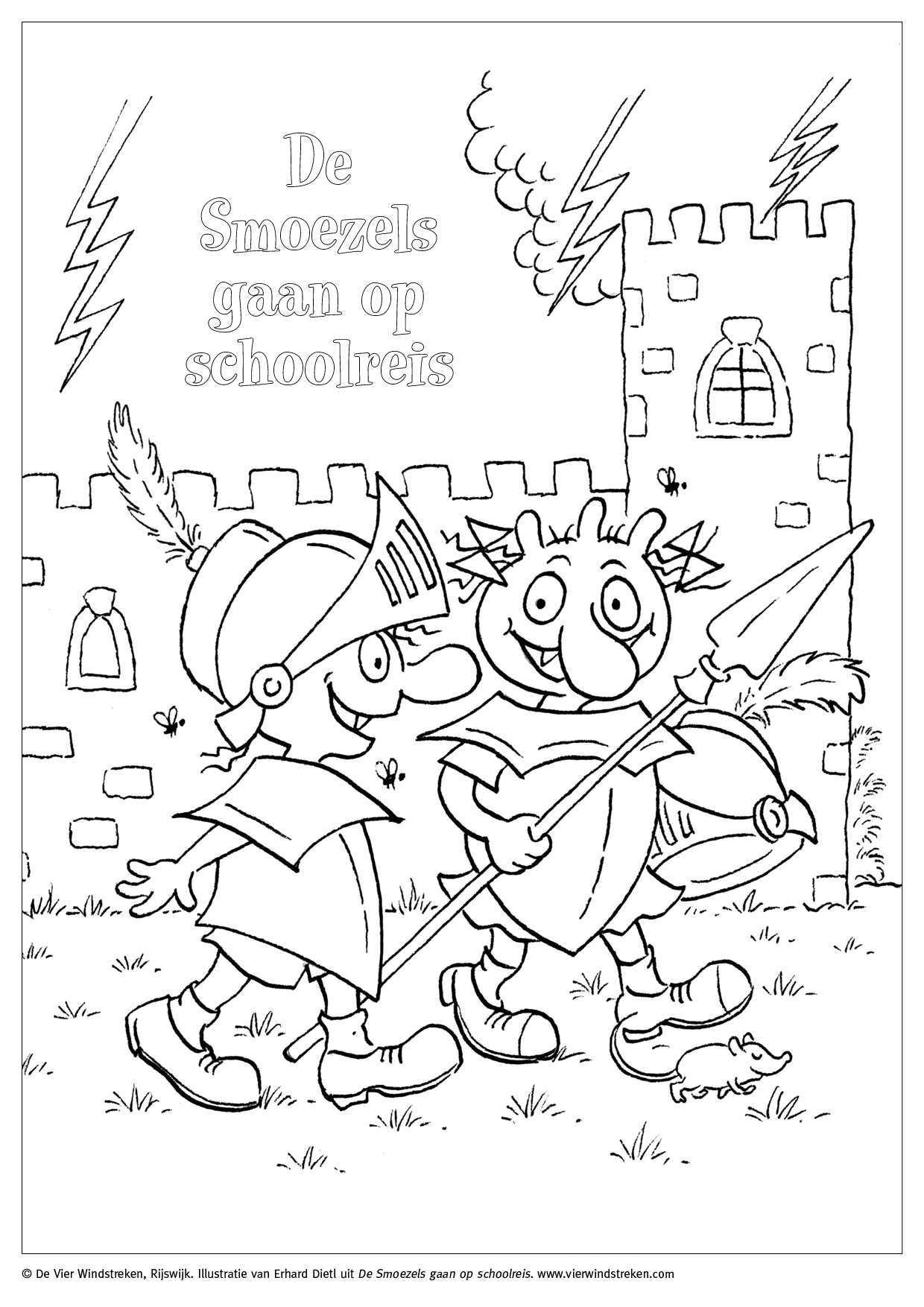 Kleurplaat De Smoezels gaan op schoolreis