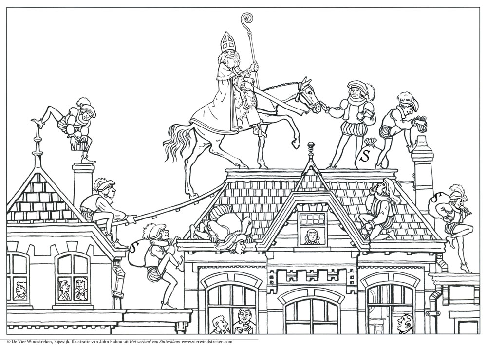 Kleurplaat Het verhaal van Sinterklaas 1