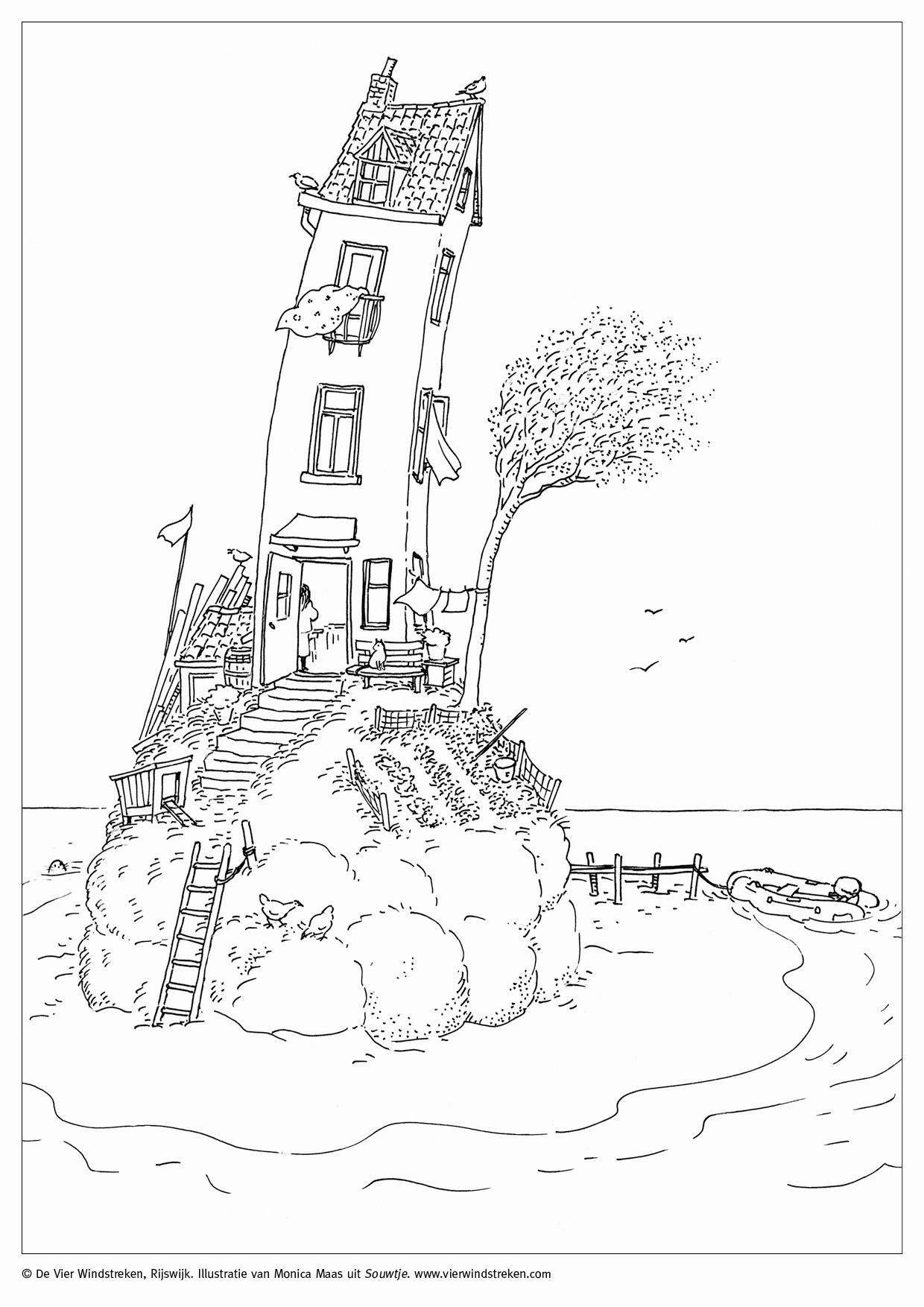 Kleurplaat Souwtje - het huis op het eiland