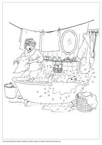 Kleurplaat Souwtje - in bad