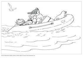 Kleurplaat Souwtje - in de boot