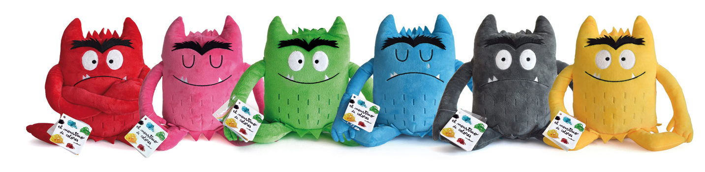 Pluche kleurenmonsters, set van 6 assorti