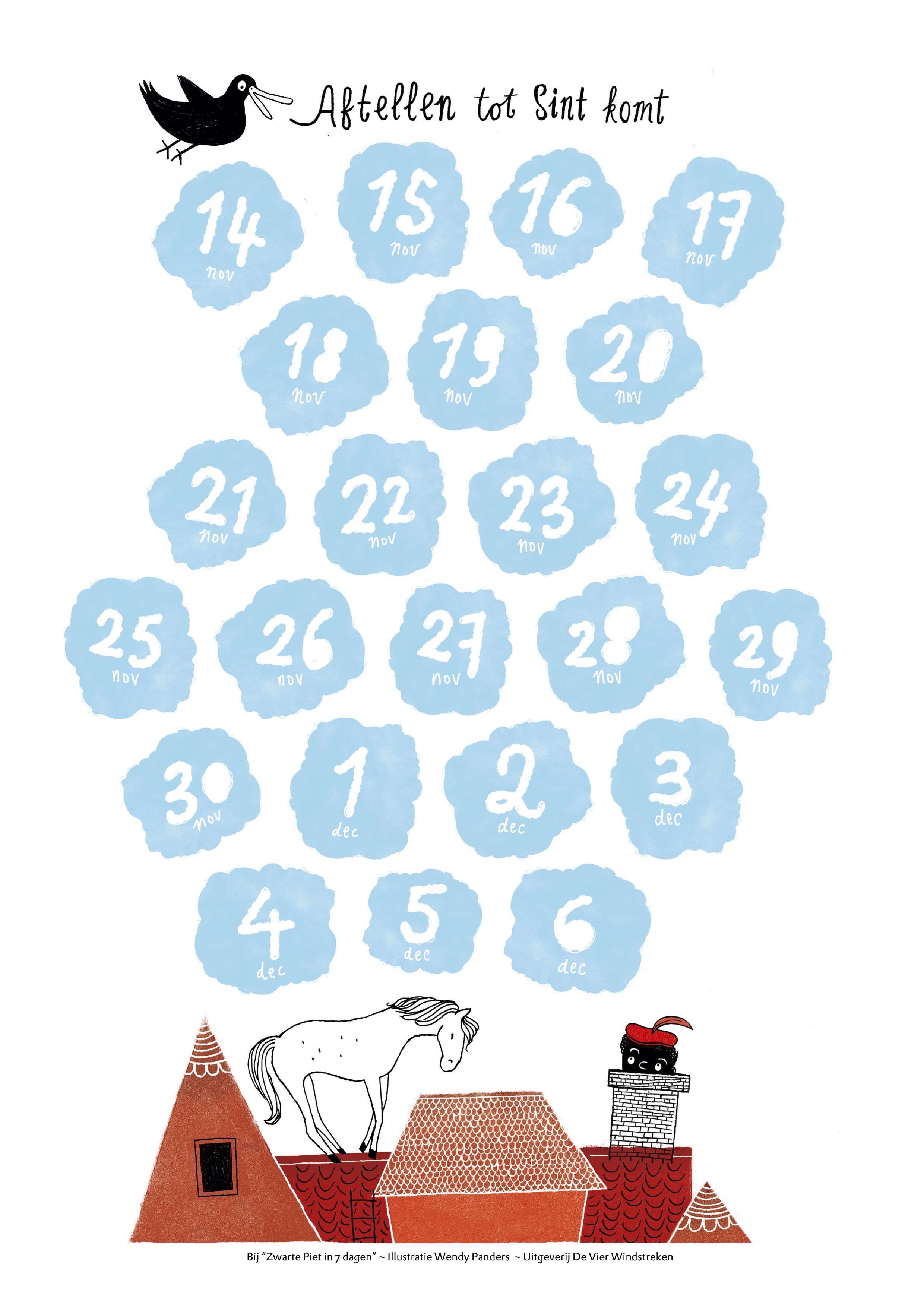 Aftelkalender Zwarte Piet in 7 dagen