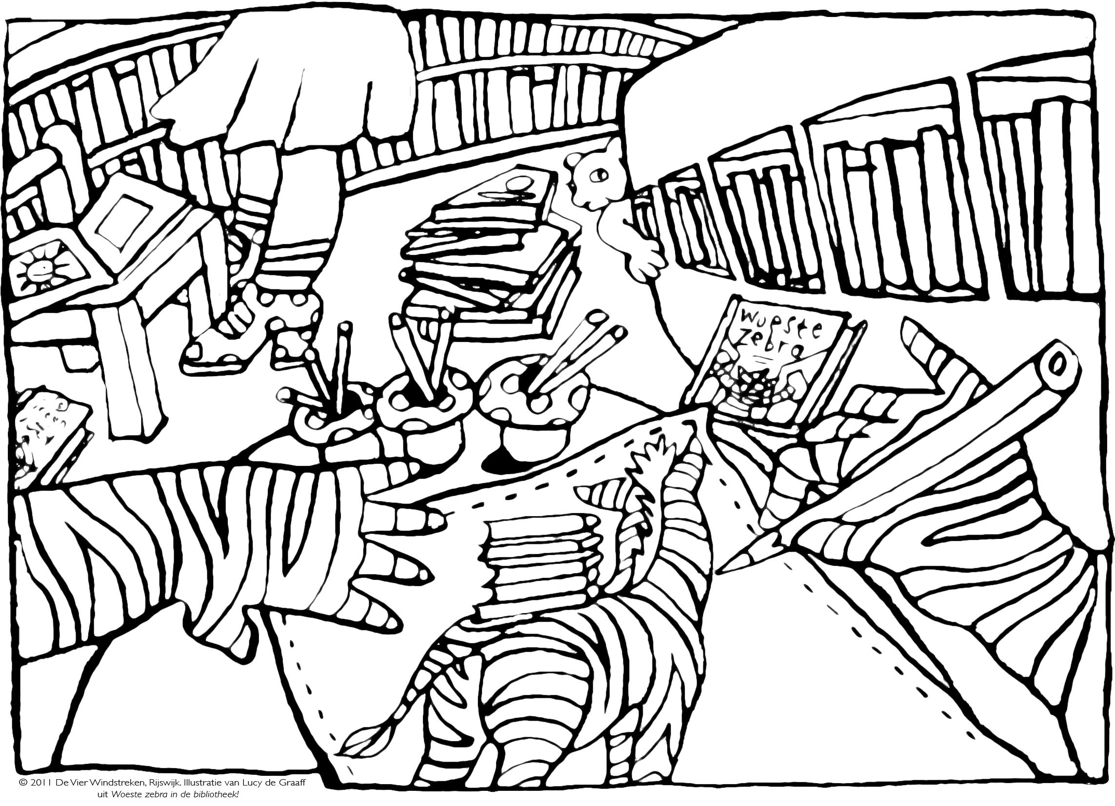 Kleurplaat Woeste zebra in de bibliotheek