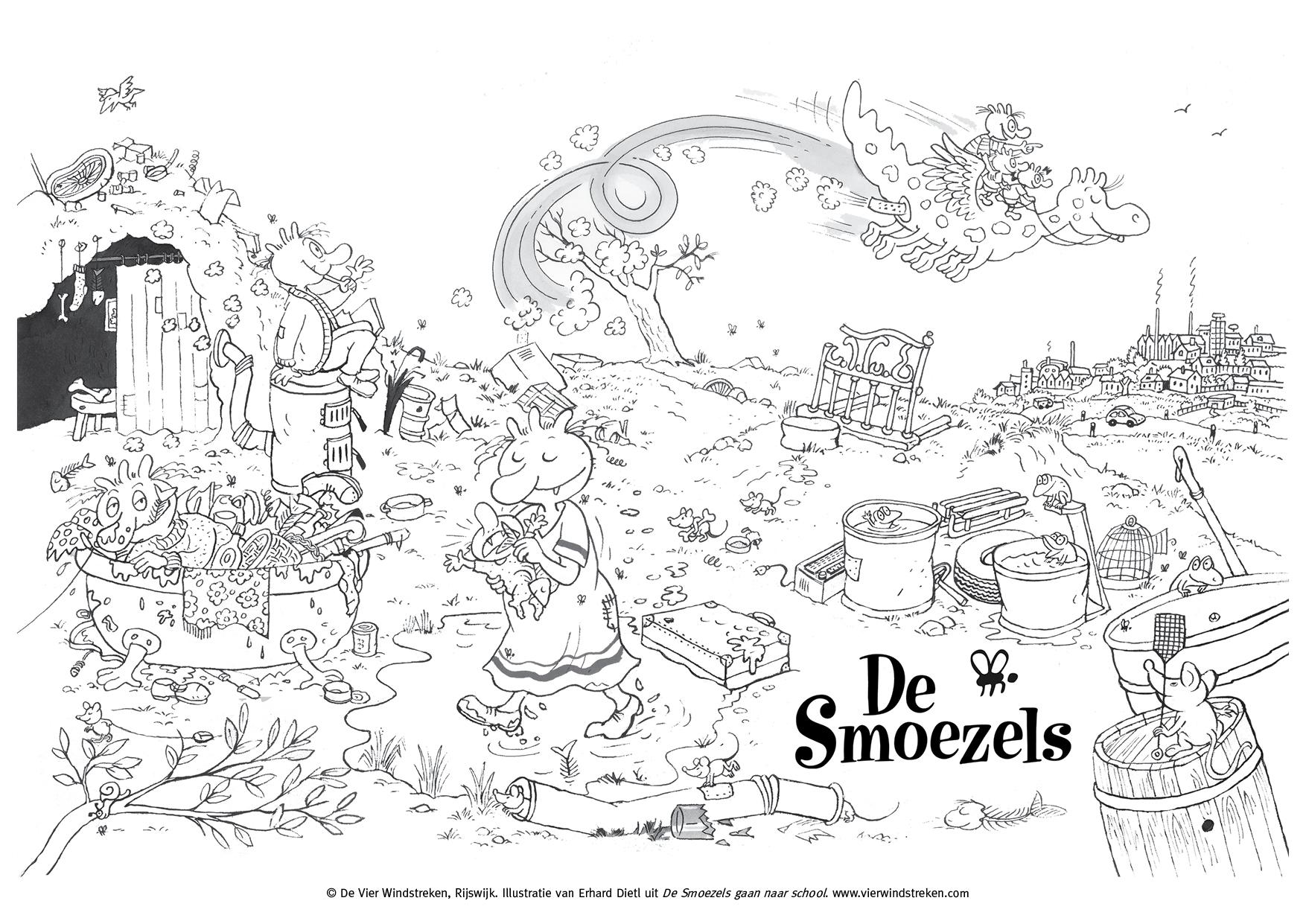 Kleurplaat De Smoezels gaan naar school