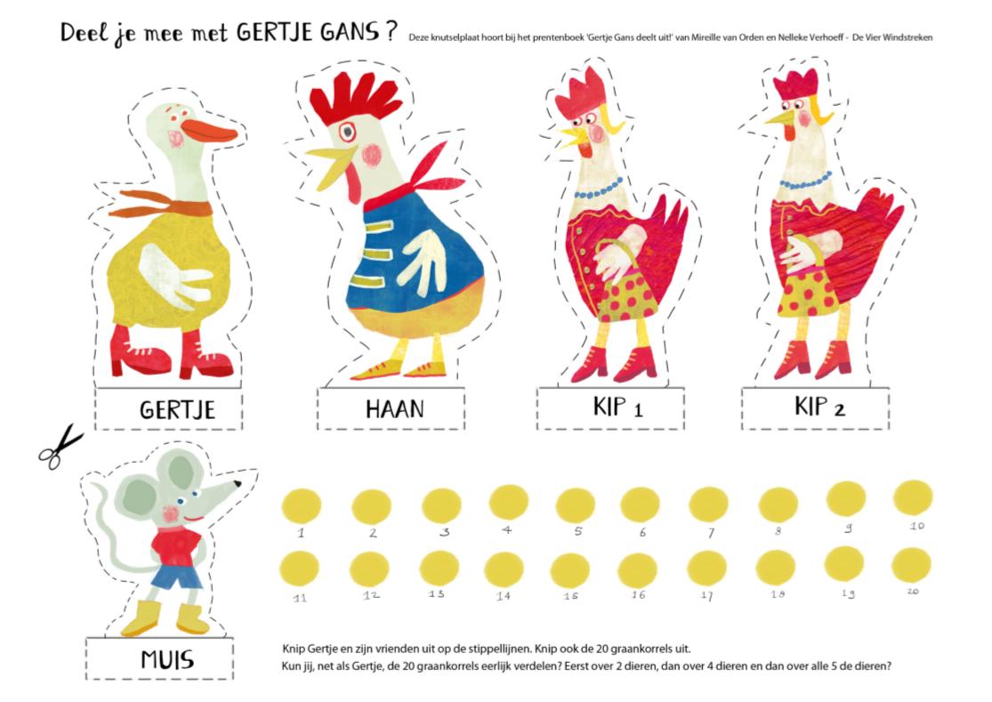 Knutselplaat: Verdeel en tel mee met 'Gertje Gans deelt uit!'