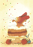 Prentbriefkaarten, Paultje op taart