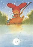 Prentbriefkaarten, Paultje - Maanvissen