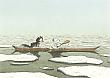 Prentbriefkaarten 10 ex., Kleine IJsbeer en Nanouk in boot