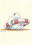 Prentbriefkaarten 10 ex., Kleine IJsbeer in de reddingsboei